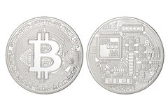 Silver Bitcoin isolated Royalty Free Stock Photography