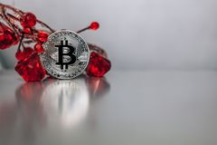 Silver bitcoin stands on the table leaning on the giver with pre. Silver bitcoin stands on the table leaning on the giver with red gems Stock Image