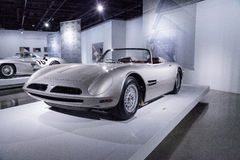 Silver 1966 Bizzarrini 5300 Spyder SI Prototype. Los Angeles, CA, USA — March 4, 2017: Silver 1966 Bizzarrini 5300 Spyder SI Prototype at the Petersen Royalty Free Stock Photography