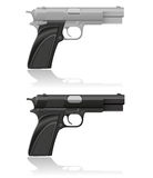 Silver and black automatic pistol Royalty Free Stock Image