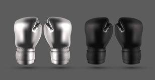 Silver and black boxing gloves isolated on gray abstract backgro. Und realistic vector illustration vector illustration