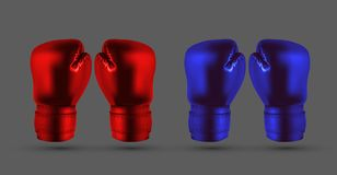 Silver and black boxing gloves isolated on gray abstract backgro. Und realistic vector illustration royalty free illustration