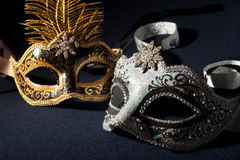 Silver and black carnival masks Royalty Free Stock Photography