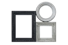Silver and black carved picture frames set Royalty Free Stock Image