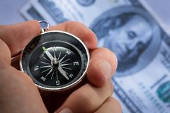 Silver black compass Stock Photography