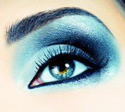 Silver-black eyeshadow image stock photo