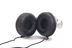 Silver-black headphone Royalty Free Stock Photos
