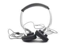 Silver-black headphone Stock Photo