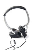 Silver-black headphone Stock Image