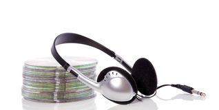 A silver black headphone Stock Photo