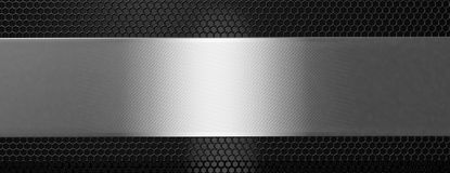 Silver black metal plate and grate, banner. 3d illustration. Silver and black metal plate and grate background, banner. 3d illustration Stock Photo