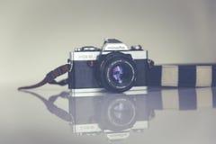 Silver and Black Minolta Camera Stock Photo