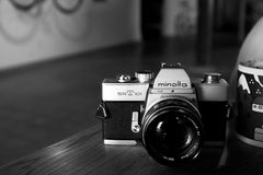 Silver and Black Minolta Dslr Camera Royalty Free Stock Photography
