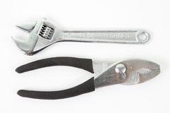 Silver and black pliers Royalty Free Stock Image