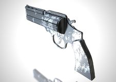 Silver and black revolver on a white. Background. 3D rendering royalty free illustration