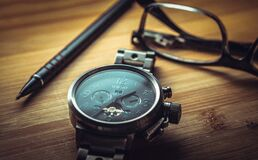 Silver Black Round Chronograph Watch Royalty Free Stock Images