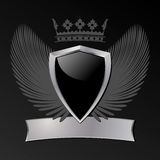 Silver and black shield Royalty Free Stock Images