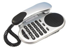 Silver and Black Telephone. Grey and Black Telephone on a isolated white background stock photo