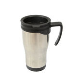 Silver and black thermos cup with holder Royalty Free Stock Photography