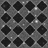 Silver and black vector seamless chess styled vintage texture with clove flowers and shining rounds Royalty Free Stock Image