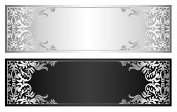 Silver and black voucher with victorian pattern Royalty Free Stock Images