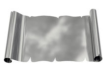 Silver blank sheet of paper with uneven edges Royalty Free Stock Photo