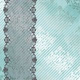 Silver and blue background with black lace Royalty Free Stock Photography