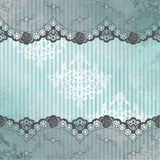 Silver and blue background with black lace Royalty Free Stock Images