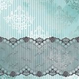 Silver and blue background with gray lace Stock Photos