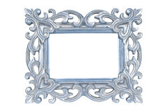 Silver blue carved picture frame. Isolated over white with clipping path Royalty Free Stock Images