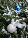 Silver and blue christmas balls. Christmas tree under snow Royalty Free Stock Image