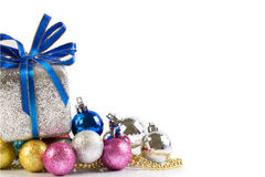 Silver and blue Christmas balls and gifts stock photo