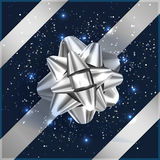 Silver and blue Christmas Bow with confetti on gift box. Silver Bow on gift box, confetti, tape vector illustration Royalty Free Stock Photography
