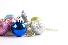 the Silver and blue Christmas decoration for Christmas holiday stock photo