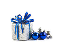 the Silver and blue Christmas decoration for Christmas holiday royalty free stock photos