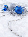 Silver and blue Christmas decorations Stock Image