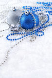 Silver and blue Christmas decorations Royalty Free Stock Photos