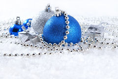 Silver and blue Christmas decorations Royalty Free Stock Images