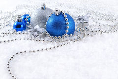 Silver and blue Christmas decorations Stock Photos