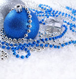 Silver and blue Christmas decorations Stock Images