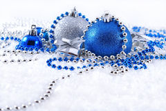 Silver and blue Christmas decorations Royalty Free Stock Photo