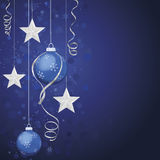 Silver and Blue Christmas Ornaments royalty free stock images