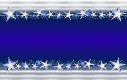 Silver Blue Christmas Star Border Royalty Free Stock Image