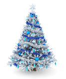 Silver and blue Christmas tree Stock Images