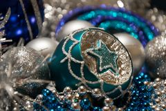 Silver and blue Christmas decorations,gentle and romantic Royalty Free Stock Photography
