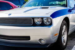 Silver and Blue Dodge Stock Photo