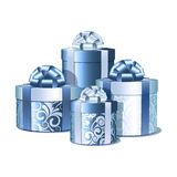 Silver and blue gift boxes. Royalty Free Stock Photography
