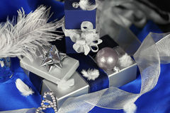 Silver and blue gifts arrangement Stock Photography