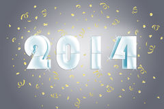 2014 Silver. 2014 in a silver blue graphic with golden confetti vector illustration