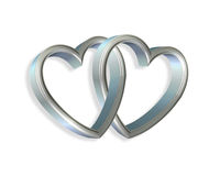 Silver Blue Hearts Linked 3D. 3D linked silver hearts clip art or design element Stock Image